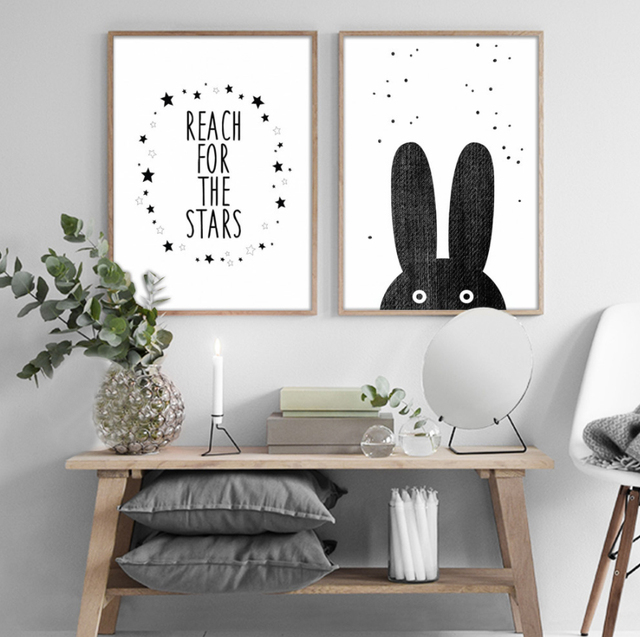 Cartoon Bear Rabbit Canvas Painting Black White Nordic