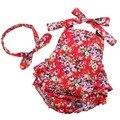 Цветок хлопка Девочку Комбинезон Bebes Infantil Одежда Ropa Conjuntos Дети Комбинезон Красный Китайский Стиль Девочка Одежда одежда для новорожденных  #7E2040