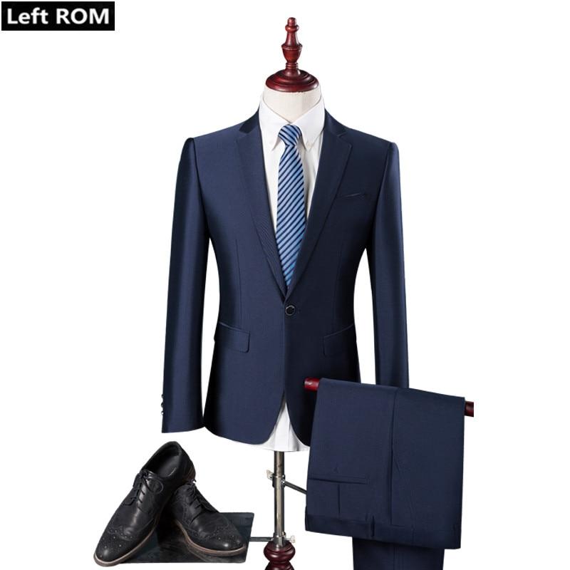 ( Jacket + Pants ) 2018 New Upscale Groom Wedding Dress Formal Suits Mens Slim Casual Business Suit Set Male Solid Color Suits