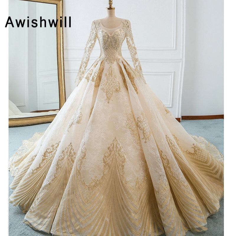 New Arrival Romantic Lace Up A-Line Long Sleeves Wedding Dresses 2019 BeadedAppliques Lace Wedding Gown Vestido de Noiva