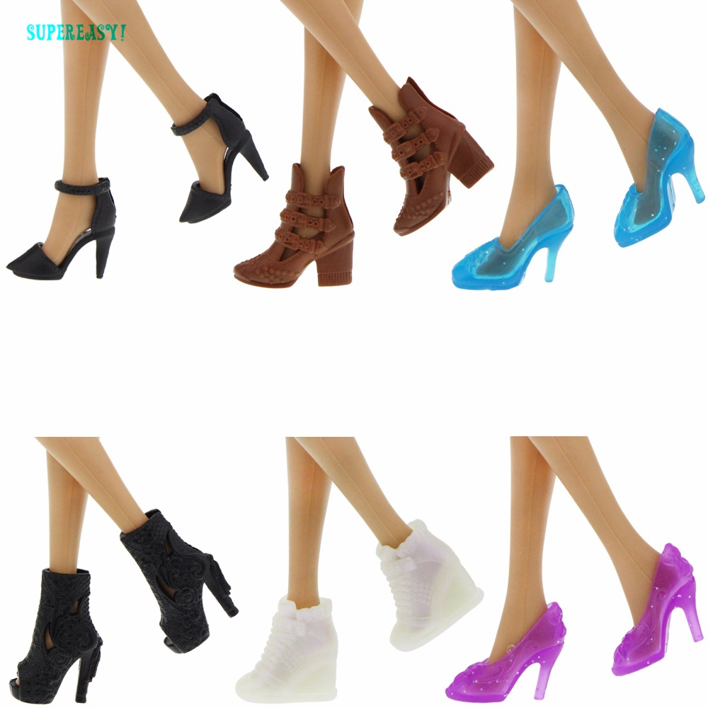 Fashion Boots High Quality Colorful Different Styles High Heels Shoes Sandals Cute DIY Clothes For Barbie Doll Accessories Gifts 500pairs lot wholesale high quality high heel shoes for 30cm dolls mixed styles sandals slippers 10pairs pack doll shoes pack