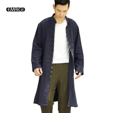 EMAIGI Men Long Cardigan China Style Coins Buckle Jacket Linen Casual Windbreaker