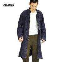 Men Long Cardigan Coat China Style Coins Buckle Jacket High Quality Linen Casual Windbreaker Coat