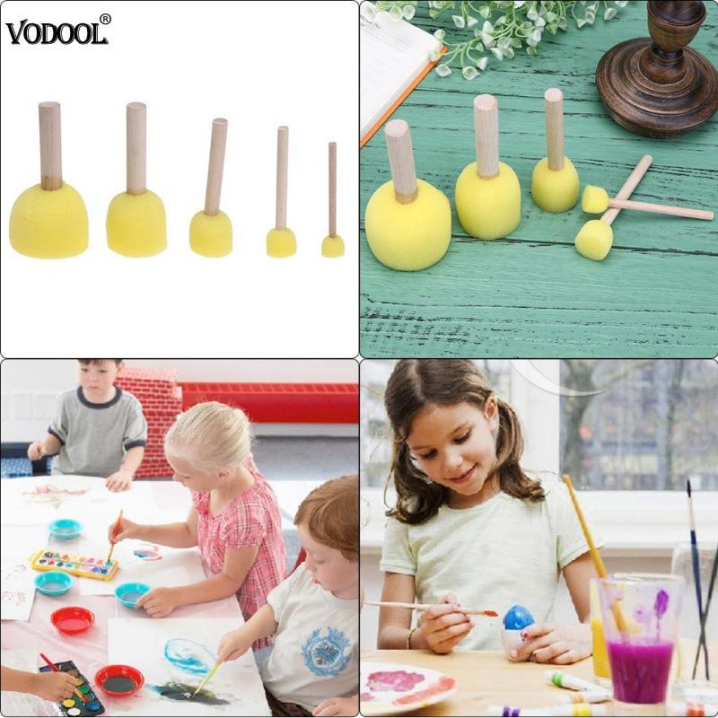 Sponge Paint Brushes Toys Wooden Handle Seal Sponge Brushes Kids Children Drawing Painting Graffiti Brush School Supply Yellow