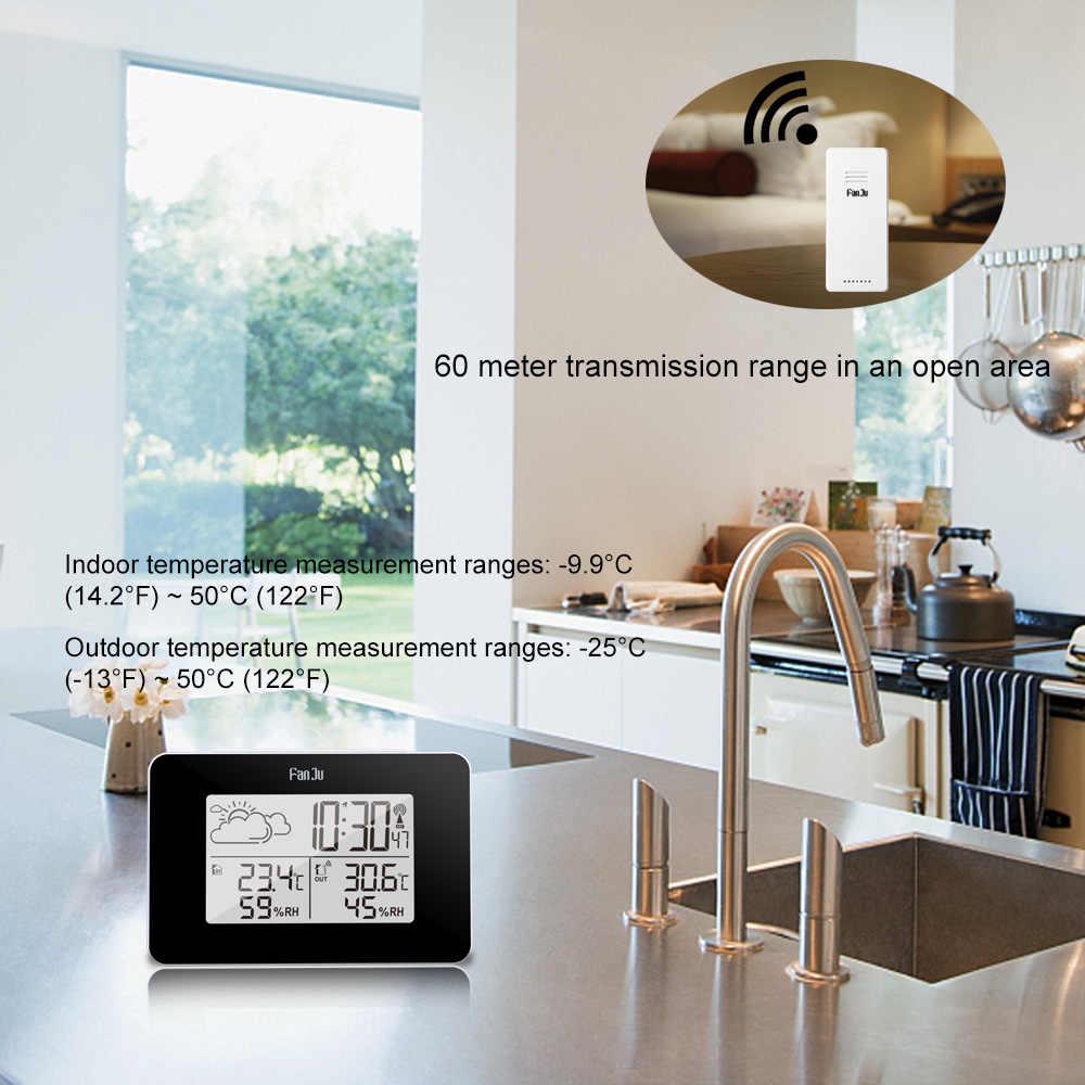 FanJu FJ3364 LED Kỹ Thuật Số Trạm Thời Tiết Không Dây Cảm Biến Đo Độ Ẩm Nhiệt Kế Đa chức năng Đồng Hồ Báo Thức Bảng đồng hồ Báo Lại
