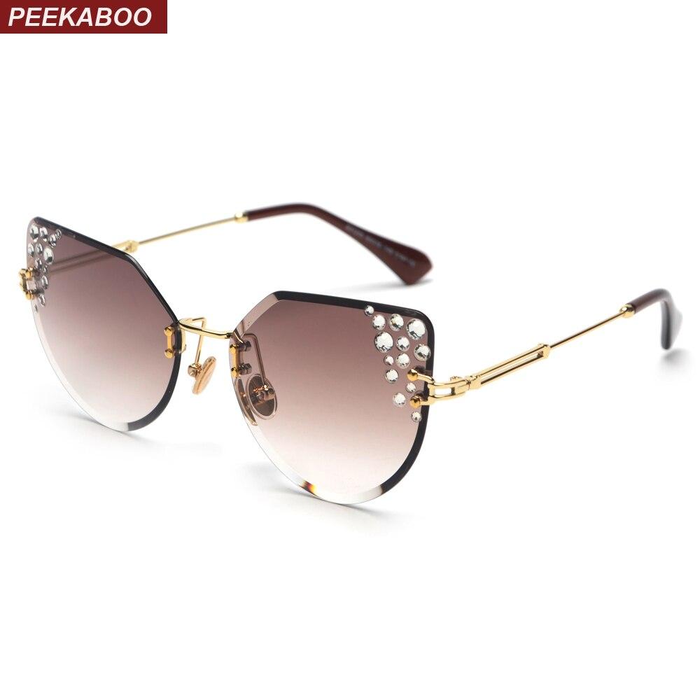 d18b19f5a4 Cheap Peekaboo sin montura de gafas de sol de las mujeres del ojo de gato de