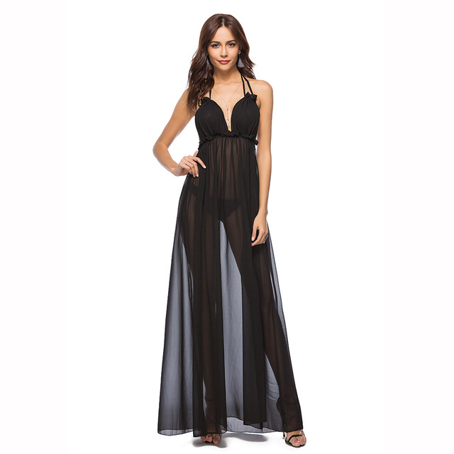 0289a158b2 Summer Sexy Maxi Beach Dress Women Long Chiffon Floor Length Sheer Dresses  Backless Black Blue Pink See Through Fashion Hot Sale
