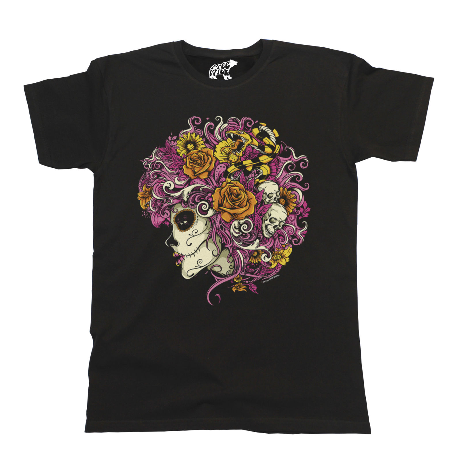 Day Of The Dead Girl T Shirt Mens Ladies Unisex Fit Snake Skull Hair New T Shirts Funny Tops Tee New free shipping in T Shirts from Men 39 s Clothing