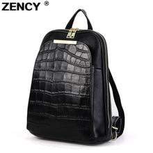 ZENCY Backpack Genuine Leather Women's Backpacks Ladies Girl's School Bag Top Layer Cowhide Mochila