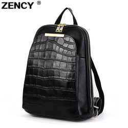 ZENCY 100% Real Genuine Cow Leather Black White Silver Gray Women Design Backpack Lady Girl Top Layer Cowhide School Bag Mochila