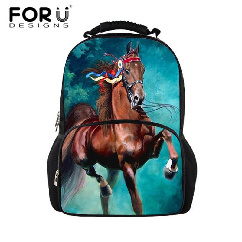 FORUDESIGNS 3D Children School Bag Animal Horse Dinosaur Print Mens Travel Backbag Crazy Horse School Bags for Teenager Boys