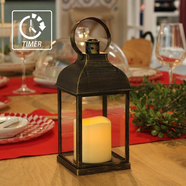 Charming WRalwaysLX Decorative Lanterns With Flameless Candles With Timer Indoor/Outdoor  Lantern With Hanging Use 3AAA Battery