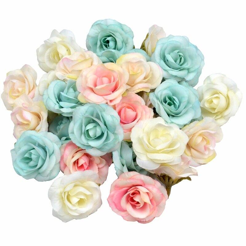 100pcs 4 centímetros De Seda Rosa Artificial Cabeças de Flor Para A Festa de Casamento Decoração de Natal Grinalda DIY Scrapbook Artesanato Flores Falsas