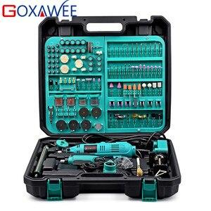 GOXAWEE 2 uds Mini taladro eléctrico Dremel estilo herramienta rotativa eléctrica de velocidad Variable con accesorios herramientas eléctricas para carpintería