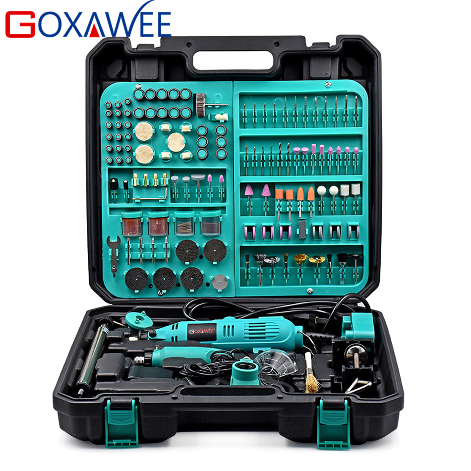 GOXAWEE 2Pcs Electric Mini Drill Dremel Style Electric Rotary Tool Variable Speed with Accessories Power Tools For Woodworking