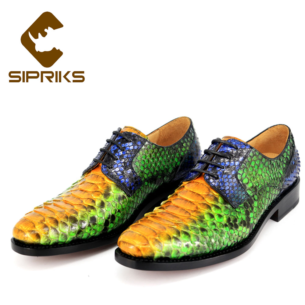 Sipriks Luxury Brand Mens Real Snakeskin Dress Shoes Italian Custom Goodyear Welted Shoes Leather Sole Wedding