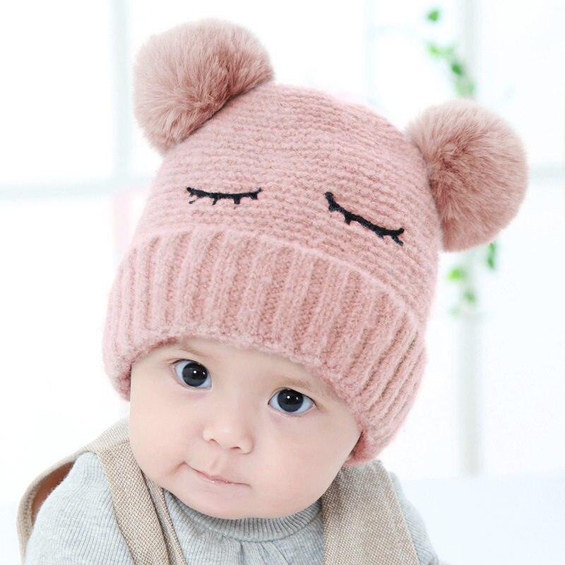 2310f49c5a6b 2018 Hiver Mignon Nouveau-Né Bébé Chapeaux Casquettes bonnet enfant Crochet  Pompon Chapeau Pour Bébé