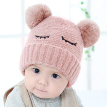 eef8767d09c 2018 Winter Cute Newborn Baby Hats Caps bonnet enfant Crochet Pompom Hat  For Baby Girls Boy Warm Knitted Hats For Kids Baby Muts