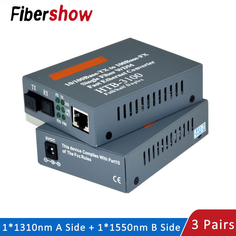 Media Converter HTB-3100 Fiber Optical Single Mode Single Fiber SC Port 20KM External Power Supply 10/100M 3 Pair