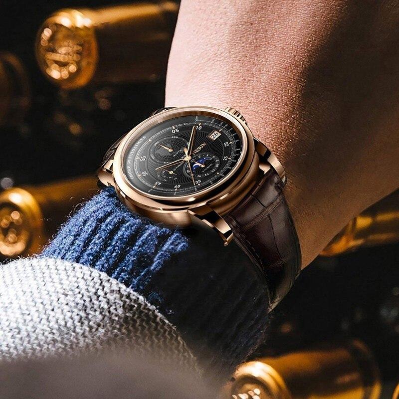 Switzerland NESUN Men Watch Luxury Brand Moon Phase Auto Mechanical Men's Wirstwatches Sapphire Leather Relogio Clock N9022-1