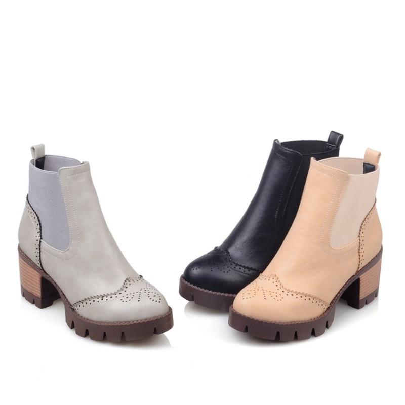 a9999e94cf6f4f autunno primavera donna stivaletti con ritagli tacchi quadrati della  piattaforma punta rotonda pu morbida pelle stivali delle donne di modo