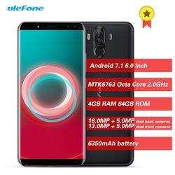 Смартфон Ulefone power 3 S 4G Android 7,1 6,0 дюймов MTK6763 4 Гб ОЗУ 64 Гб ПЗУ 4 экрана Лицо ID мобильный телефон