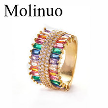 Molinuo 2019 New gold color Multicolor Baguette cz Stone Luxury Rings wedding engagement band trendy finger jewelry