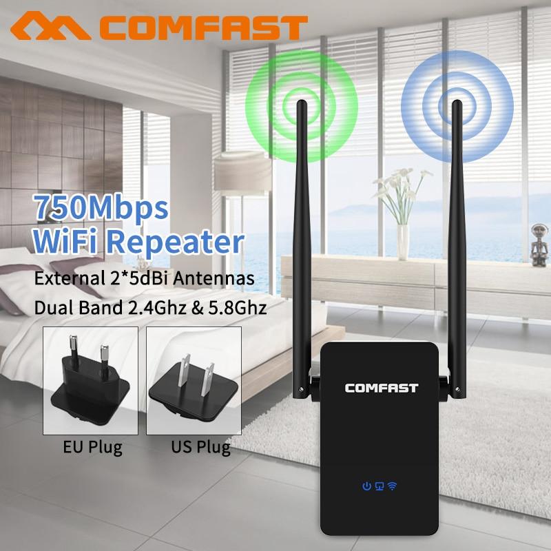 5.8g dual band 802.11 AC Senza Fili Wifi Del Ripetitore Range Extender Amplificatore di Segnale 750 Mbps 10dbi Antenna Wifi Booster Repetidor