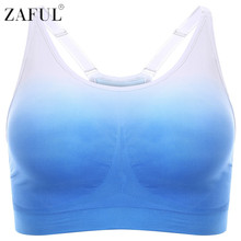 bd18a5ce8b ZAFUL Women Sports Bra Running Gym Padded Wirefree Shakeproof Gradient Push  Up Fitness Top Bras Full