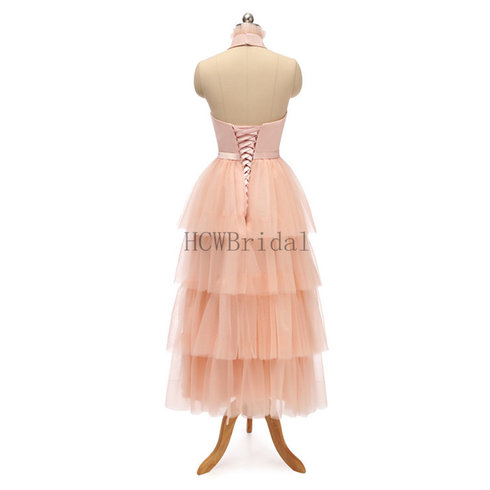 Image 3 - 2019 New Tiered Tulle Long Evening Dress High Neck A Line Tea Length High Quality Formal Prom Gowns Cheap Women Party Dresses-in Evening Dresses from Weddings & Events