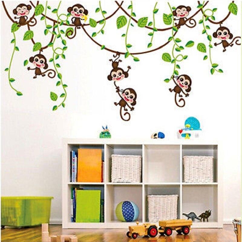 Online Shop Cute Jungle Monkey Tree Vine Wall Stickers Vinyl Art ...