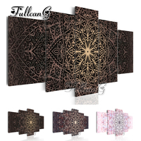 FULLCANG diy 5 pieces diamond painting abstract mandala flower icon full square/round drill embroidery cross stitch kits FC106