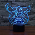 2016 novo Superman forma colorida do Diodo Emissor de luz da noite 3D acrílico LED colorido gradiente Nightlight candeeiro de mesa de toque interruptor 3D ilusão