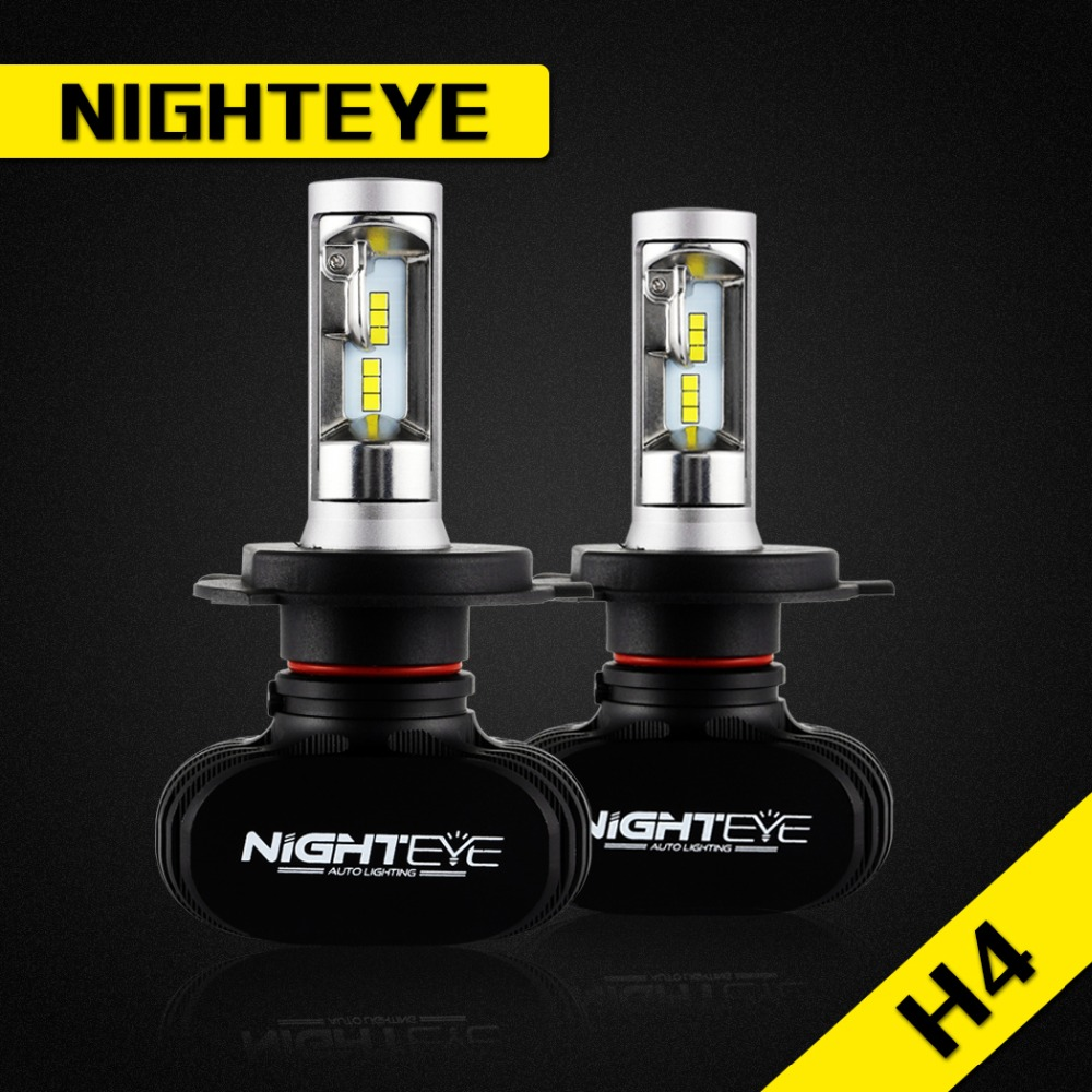 NIGHTEYE 2Pcs H4 50W 8000LM 6500K CSP LED Car Headlight Conversion Kit Fog Lamp Bulb DRL COB High Low Beam Auto Car Led Lights free shipping all in one car led headlight conversion kit 66w 6000lm h13 high low beam bulb super bright car styling led bulb