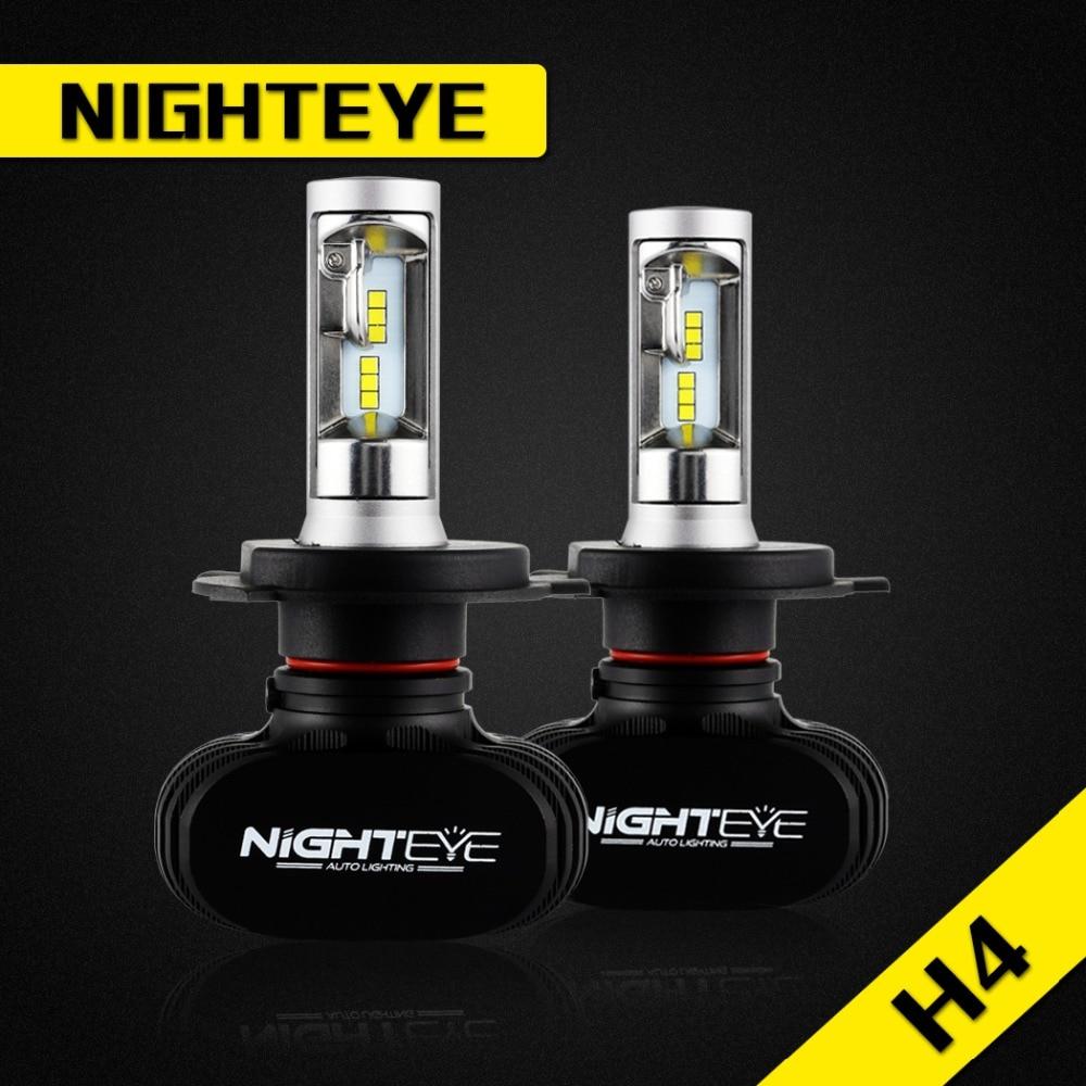 NIGHTEYE 2Pcs H4 50W 8000LM 6500K CSP LED Car Headlight Conversion Kit Fog Lamp Bulb DRL COB High Low Beam Auto Car Led Lights