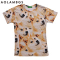 3D emoji doge t shirt summer funny emoticon clothes 2016 hot sell unisex women men smile face 3d doge tops tees t-shirts homme