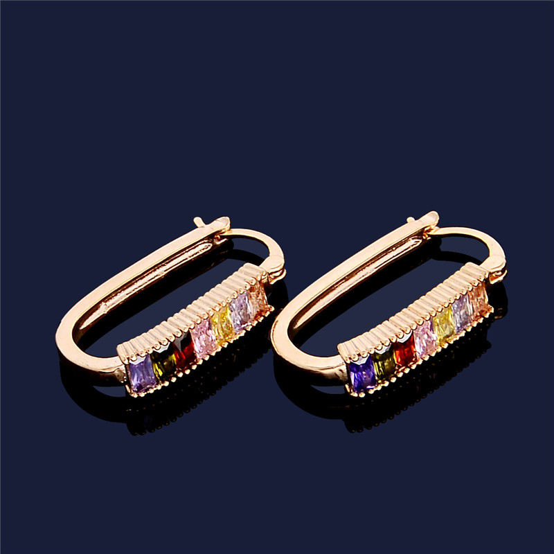 H:HYDE 2 Colors Fashion Jewelry Gold Color Multicolor Crystal AAA Zirconia & CZ Fine Women Hoop Earrings