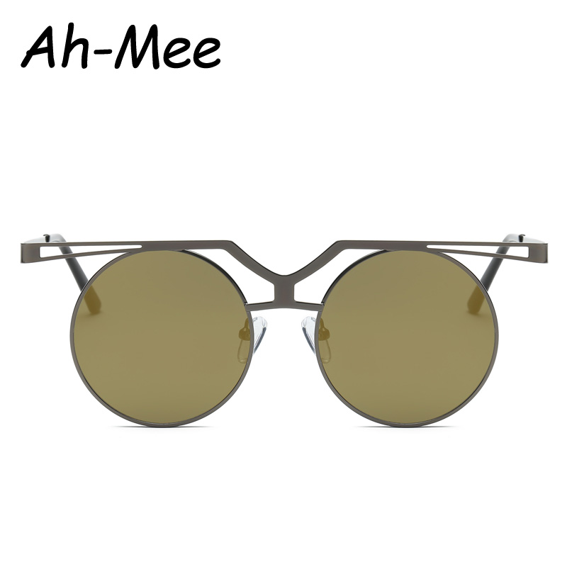 Ah-mee Steampunk Sunglasses Women Vintage Round Shades Sun Glasses Men Brand Designer Metal High Quality UV400