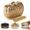 New Women Openwork Evening Bag Fashion Iron Net Diamond Hard Box Clutch Dinner party Handbags Chain Shoulder Bag