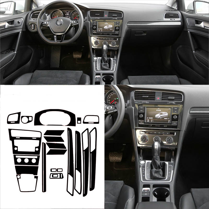 Car-Styling New 3D Carbon Fiber Car Interior Center Console Color Change Molding Sticker Decals For VW Golf 7