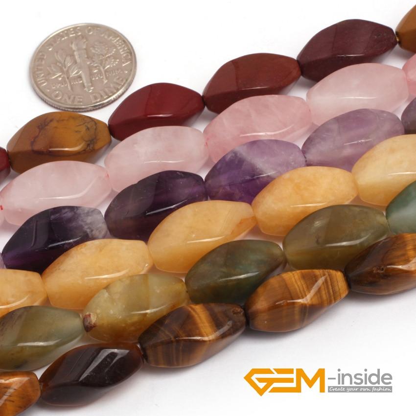 8x16mm Twist Jewelry Beads Natural Stone Beads For Jewelry Making Beads: Amethysts ,Amazonite Fluorite Unakite Wholesale !