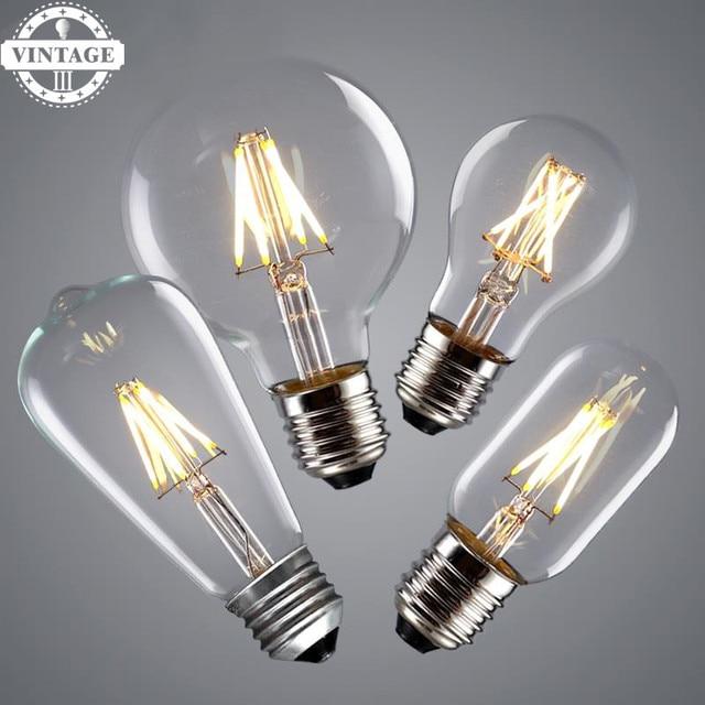 2W 4W 6W E27 E14 LED Filament Light Real watt Vintage LED Edison Bulb Vintage LED Bulb Lamp 220V Retro Candle Light