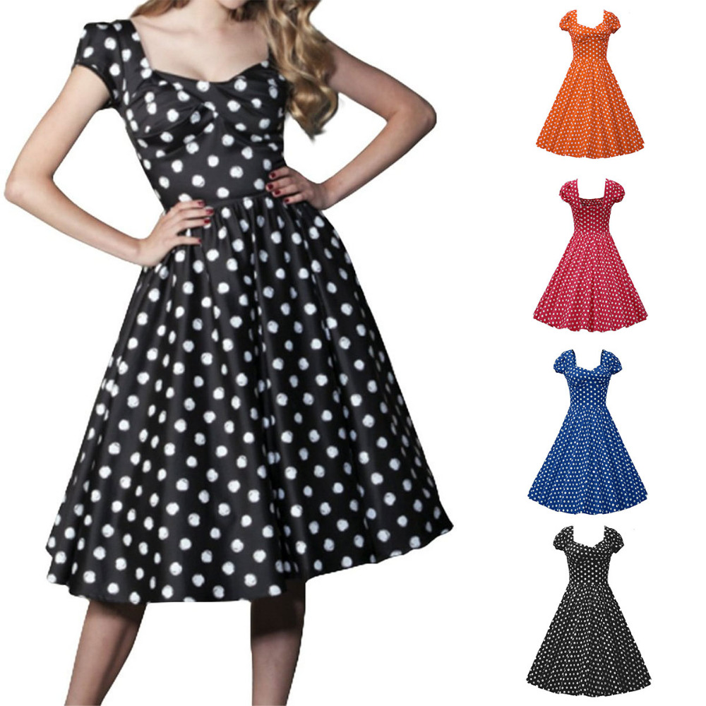 women vintage style polka dot 50 39 s 60 39 s swing pinup retro party housewife dress in dresses from. Black Bedroom Furniture Sets. Home Design Ideas