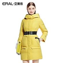 ERAL 2016 Новое Прибытие Зима Тонкий Утолщение Лоскутное женщин Средней длины Вниз Пальто Куртки с капюшоном ERAL6076D