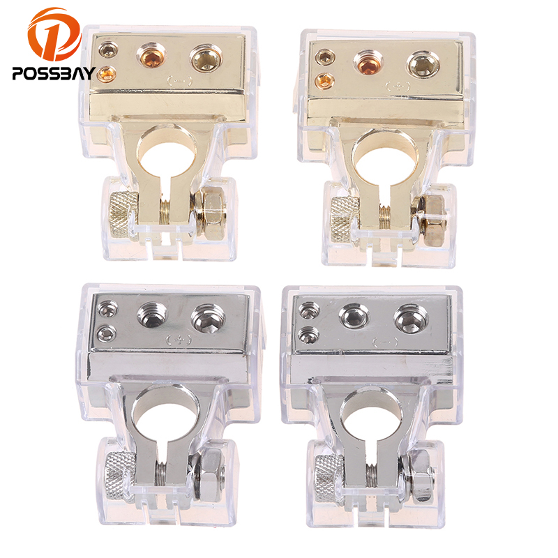 POSSBAY Gold Car Battery Terminal Clamps Connectors Positive Negative 0 4 8 Gauge AWG Electric Connector