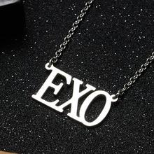 Korean Fashion KPOP EXO Letter Stainless Steel Pendant Necklace Fans Friend Gift Collection [mykpop]exo 3rd exo l light stick concert light stick fans supporting kpop fan gift collection sa18032503