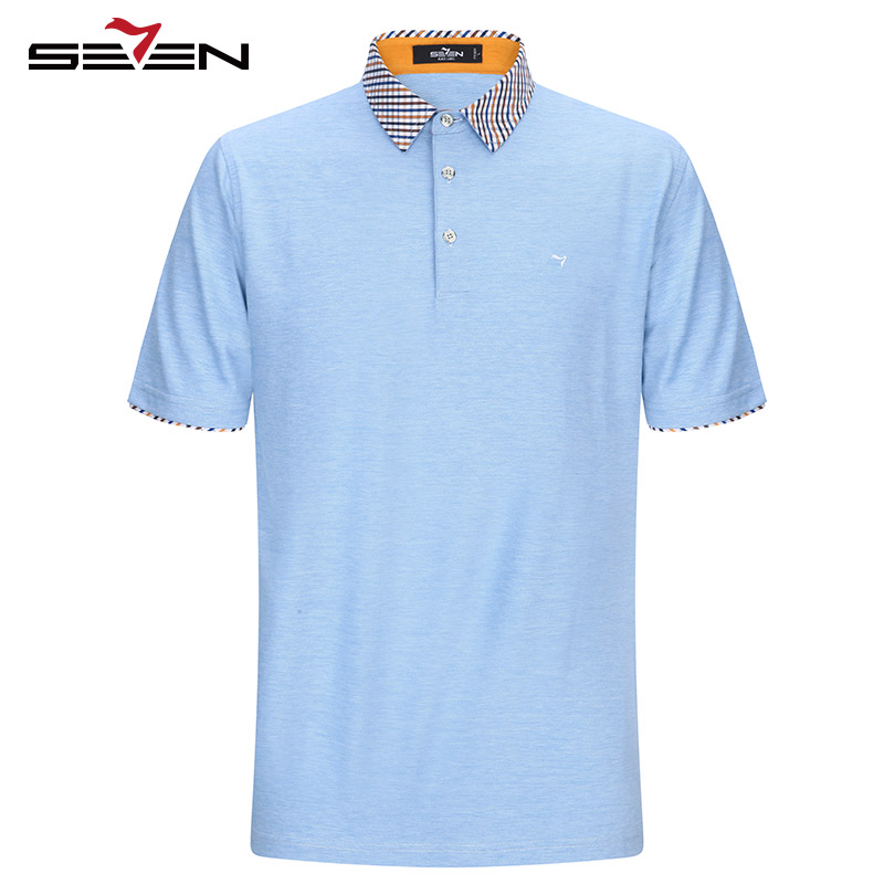 Seven7 brand polo shirts short sleeve men cotton business for Business casual polo shirt