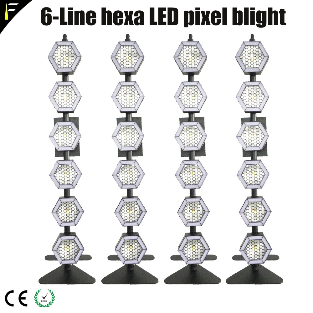 4units 6x100W 6-Line Hexa COB LED RGB/Warm/Cold Sun Light Stage Back Light Pixel Deco Lighting fit Music Concert with FlightCase image