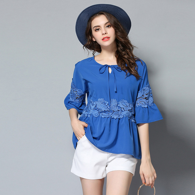 Loose Chiffon Blouse Lace Inset Bell Sleeve Summer Plus Size Shirts