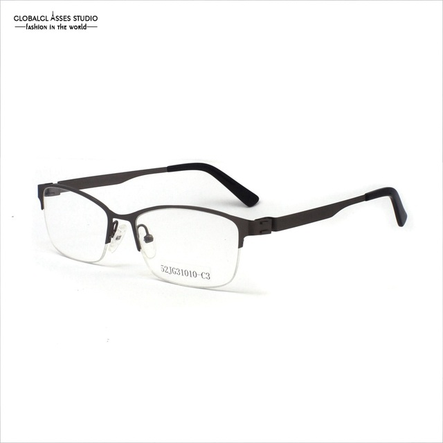 Designed Half Frame Flexible Metal Glasses Prescription Frame Men ...